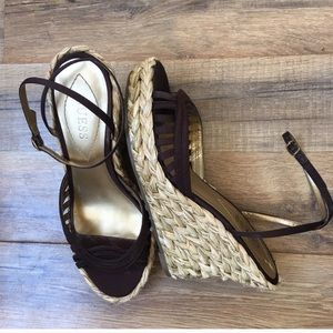 Guess wedge sandals brown